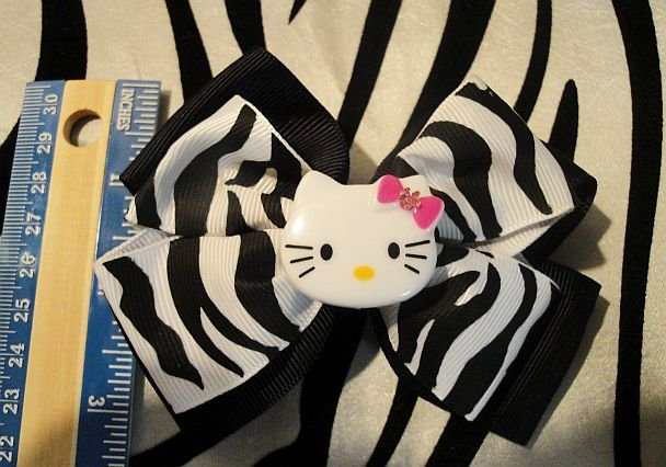 Black And White Zebra Print Hello Kitty Bow (Handmade)