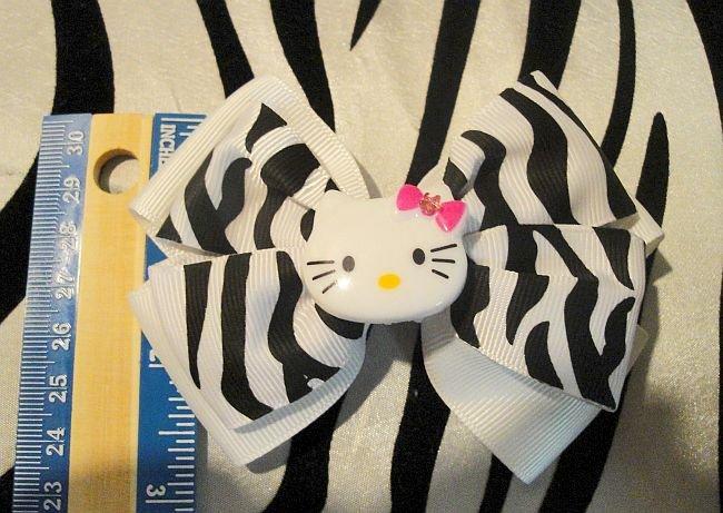 White And Black Zebra Print Hello Kitty Bow (Handmade)