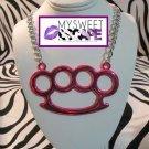 Big Pink Horizontal Brass Knuckle Necklace