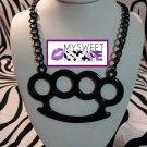 Big Black Horizontal Brass Knuckle Necklace