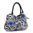 Blue Rose Zebra Print Handbag