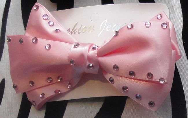 Big Pink Bow With Rhinestones