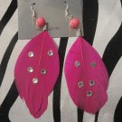 Fuchia Feather Earrings With Rhinestones