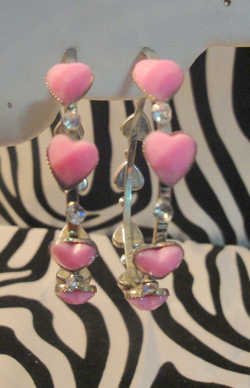Pink Heart Hoops With Rhinestones