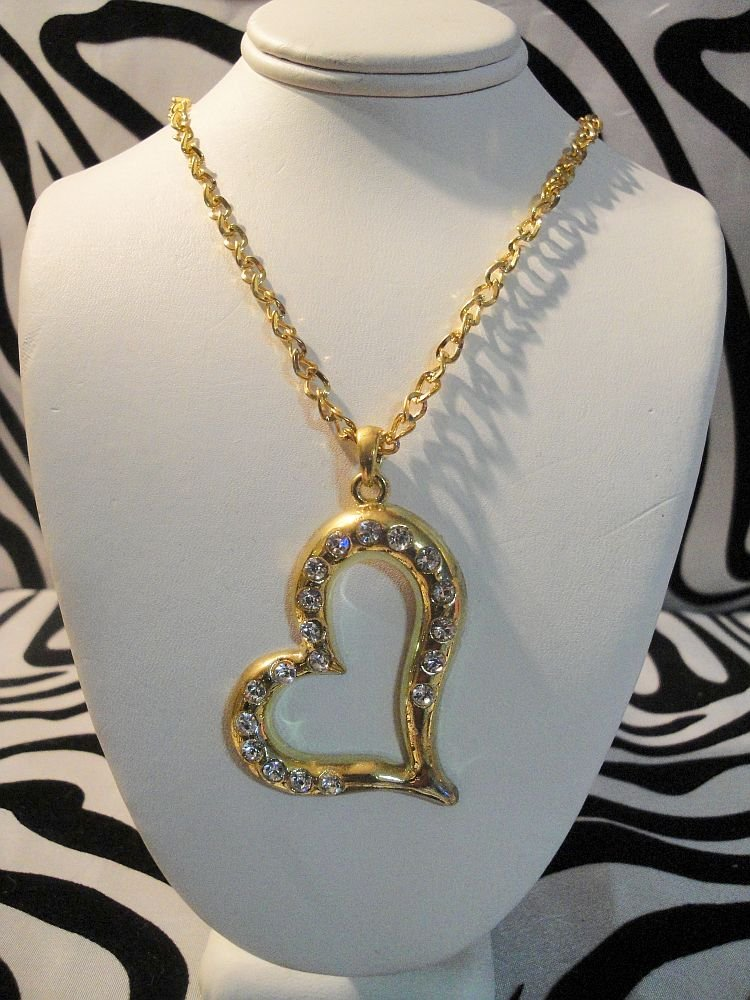 Gold Plated Heart Necklace Long Chain