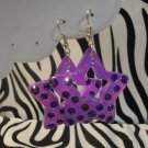 Purple Star Cut Out Rhinestone Earrings
