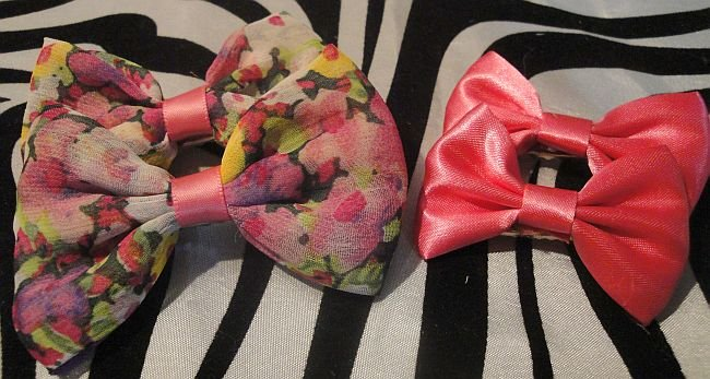 Flower & Pink Bow Sets 2 Pairs