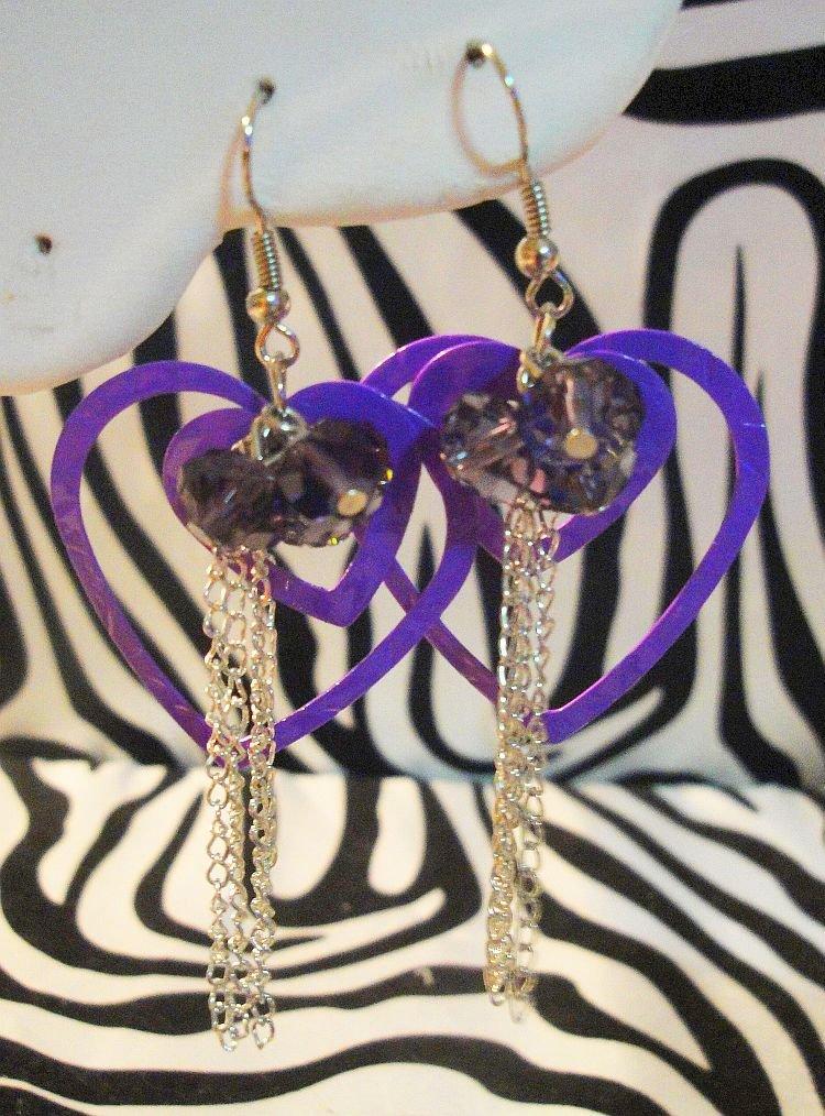 Purple Double Heart Earrings