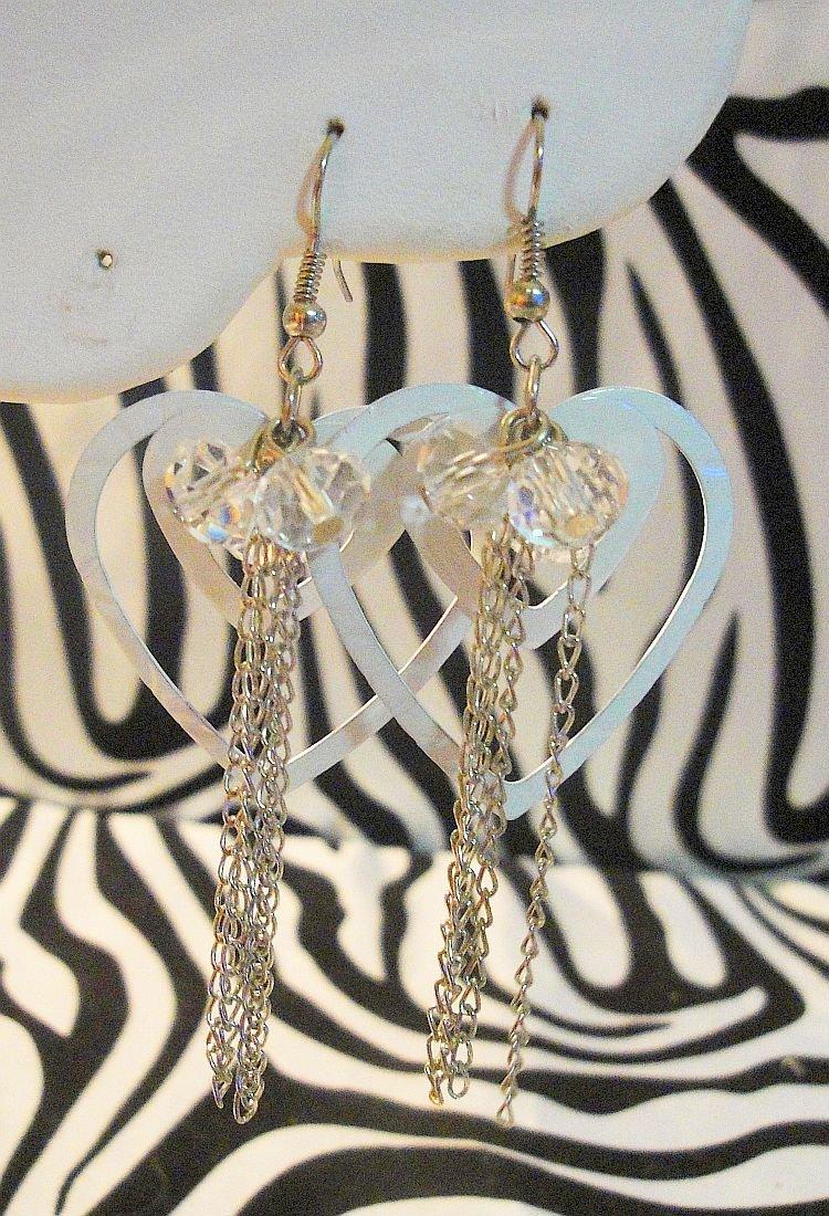 White Double Heart Earrings