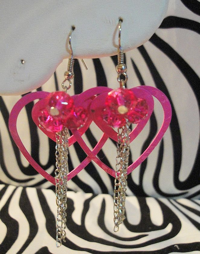 Pink Double Heart Earrings