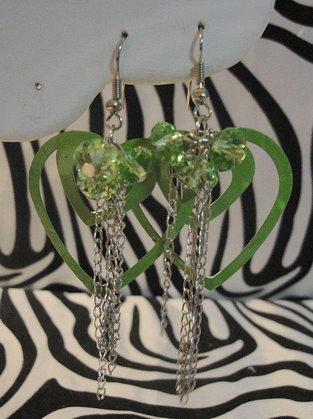 Green Double Heart Earrings