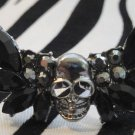 Black Skull With Wings 2 Finger Ring