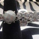 Silver Skull With Gem Adjustable Ring