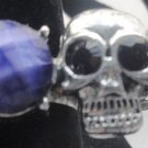 Purple Skull With Gem Adjustable Ring