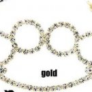Gold Plated Cubic Zirconia Brass Knuckle Necklace