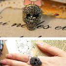 Skull Adjustable Ring With Pink Bow