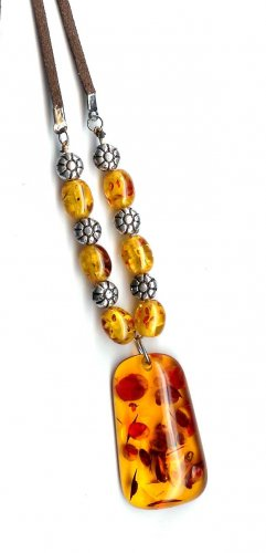 Fashion jewelry - Faux amber necklace with leather cord - NEW - - free sh/h