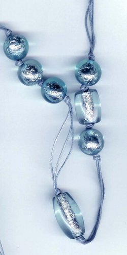 Fashion jewelry - Lampwork blue silver foil long necklace - NEW - free sh/h