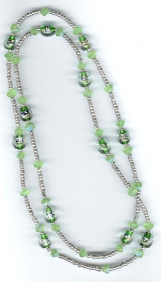 "Fashion designer jewelry - 45"" long green lampwork necklace by Lucine - NEW - free sh/h"