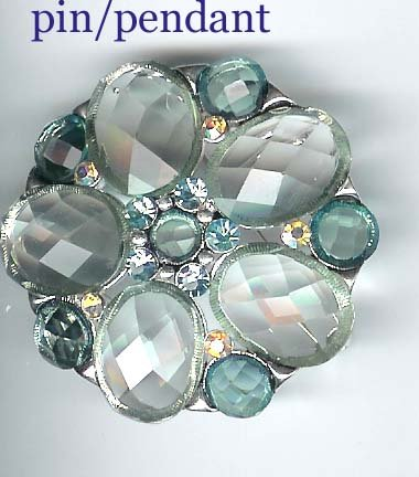 Fashion jewelry: blue pin pendant with crystals - NEW - free sh/h