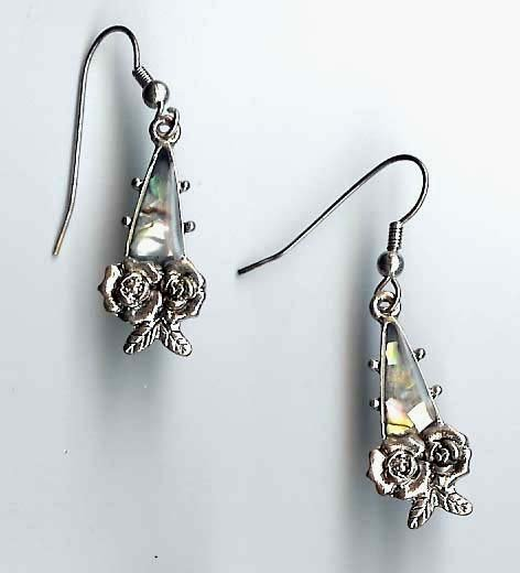 Fashion Jewelry - Victorian style pierced earrings with abalone