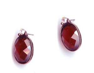 Fashion Jewelry - Firy red oval pierced earrings with crystal - NEW - free sh/h