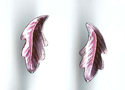 Fashion jewelry - lavender/pink silver leaf earrings Free sh/h 666E