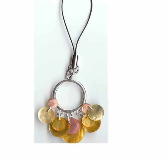 Mother of pearl charms cell phone strap - fashion jewelry accessory - cellphone - free sh/h