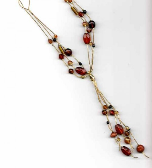 Brown beads on gold chains with front drops Necklace - Fashion jewelry - NEW - free sh/h