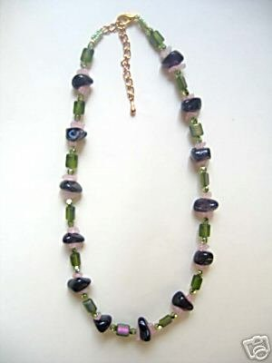 SOLD inv - Designer jewelry: Amethyst, rose quartz and green necklace by Lucine NEW
