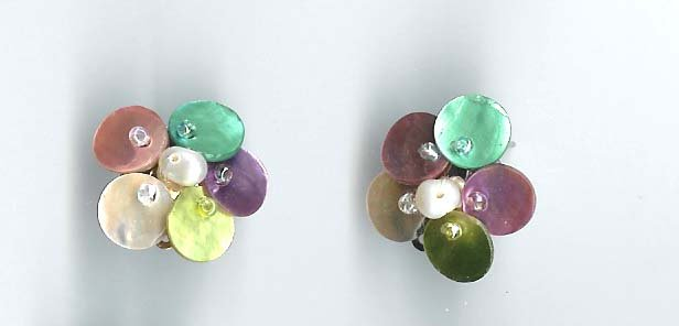 Multi colour mother of pearl flower earrings - NEW