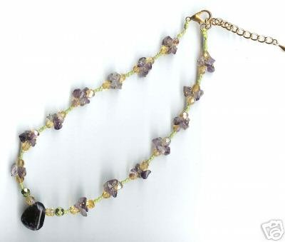Designer jewelry: Semi-precious amethyst clusters necklace - NEW - free sh/h