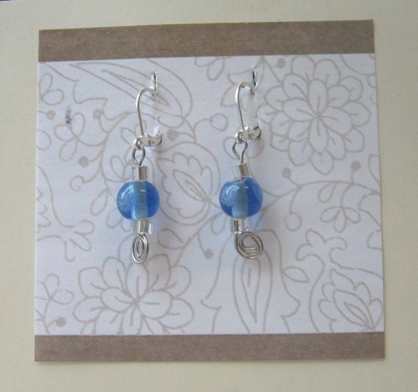 Cool blue lampwork drop earrings by Lucine - wireworks