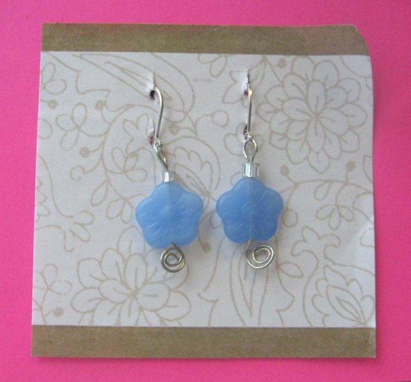 Blue flowers drop earrings by Lucine - wireworks