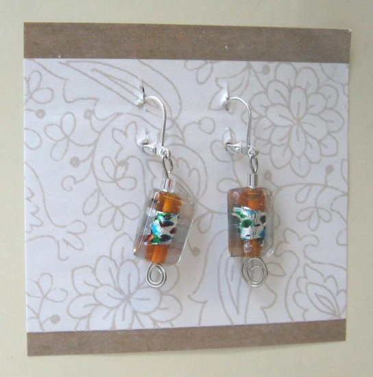 Orange cool glass drop earrings by Lucine - wireworks