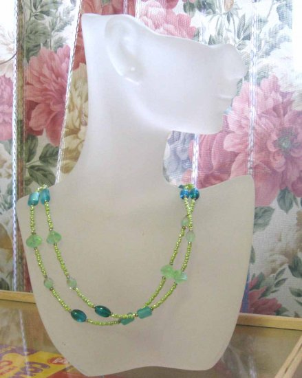 Blue Green glass double row adjustable necklace - so cool and refreshing! by Lucine