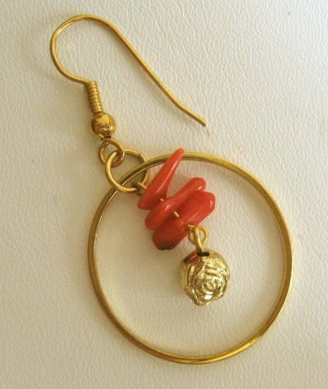 Designer earrings: Coral with hoops by Lucine