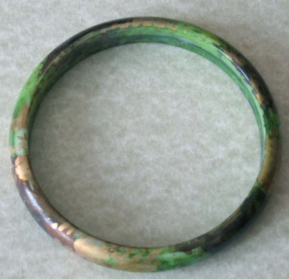 Bangel - lacquered - green, brown and gold - NEW