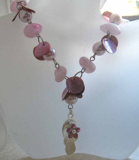 Thong necklace: Pink MOP shells, pearls and rose quartz - free sh/h