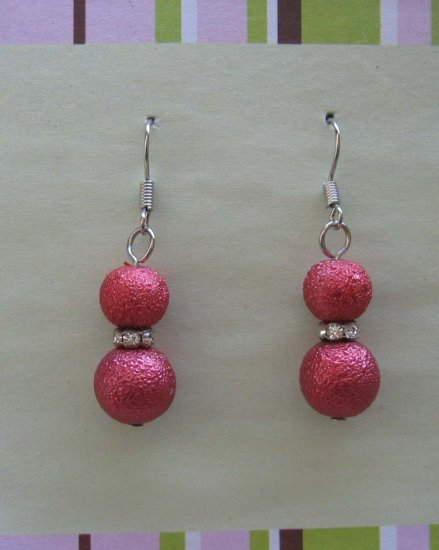 Red hot drop earrings with crystals - wholesale - free sh/h