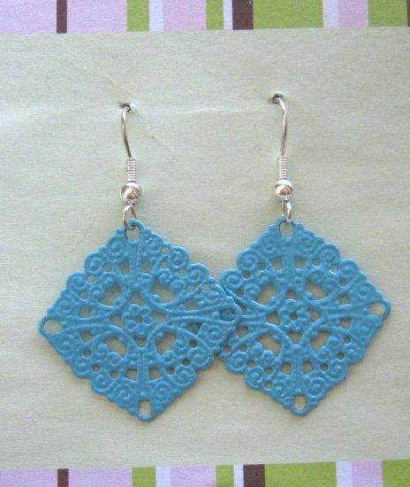Blue lacy drop earrings - free sh/h
