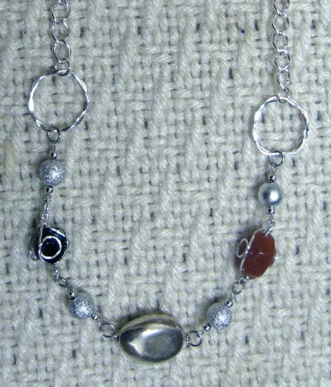 Silvertone linked wireworks one of a kind necklace by Lucine - free sh/h
