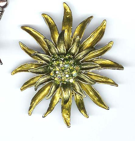 Green fashion pin with crystals - NEW - FREE sh/h