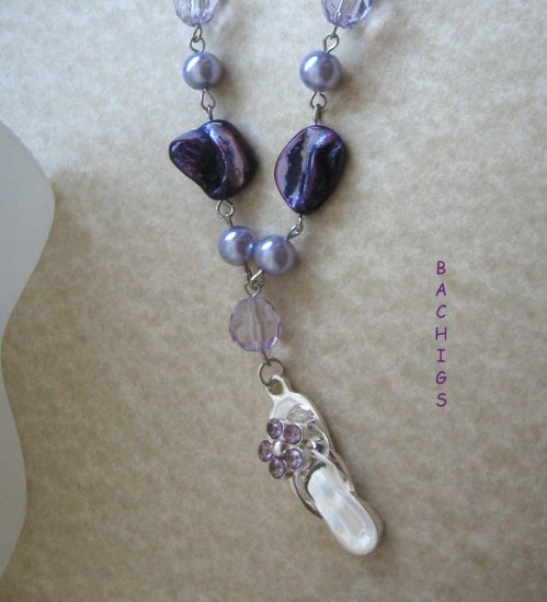 Purple mother of pearl linked necklace with thong pendant - FREE sh/h