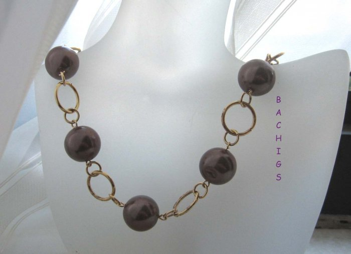 Chocolates for you - Brown linked loops necklace with toggle clasp - FREE sh/h