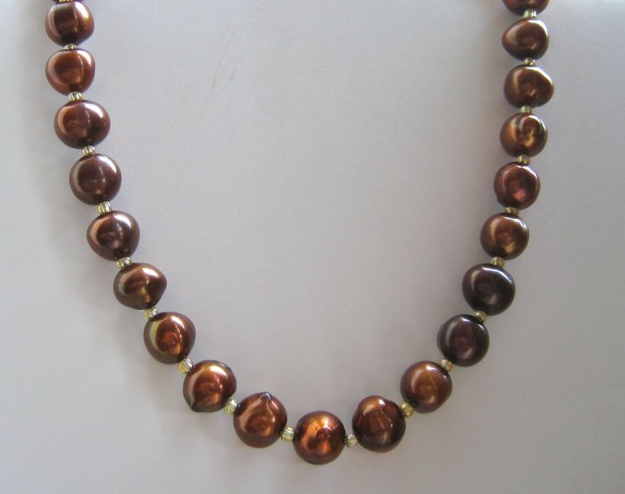 Cultured freshwater large brown pearls necklace 8-9mm FREE sh/h
