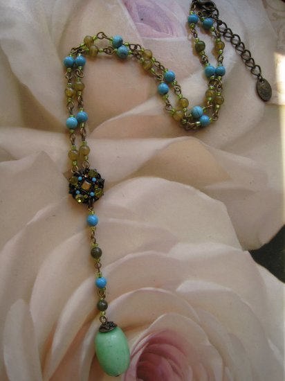 Fashion necklace with pendant - blue and green - FREE sh/h