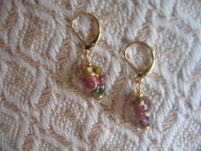Pink Lampwork flowers earrings by Lucine - FREE sh/h