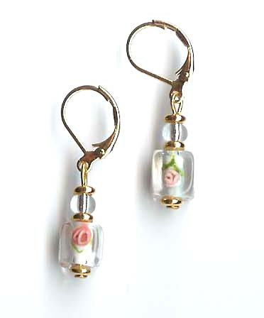 Lampwork rose earrings with 24k gold electroplated wafers - lever back - FREE sh/h