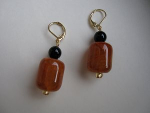 Fiery agate with onyx drop earrings by Lucine - FREE shipping